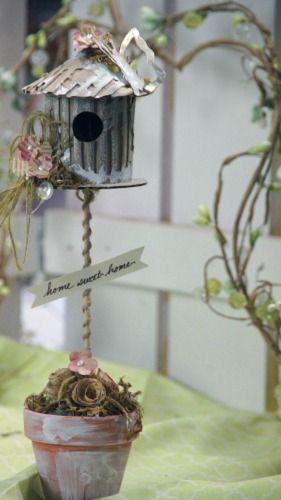 View Blog Post | Spellbinders - Spellbinders Mixed Media Monday: Spring Birdhouse Topiary