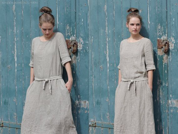 Natural Linen Trapeze Dress. Maxi by KnockKnockLinen on Etsy