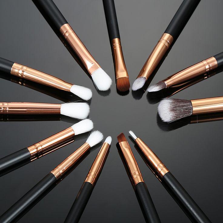 12pcs/lot Pro Makeup Brushes Set Foundation Powder Eyeshadow Eyeliner Lip Brush Tools Eyeshadow Brush Set Highlighter Brushes