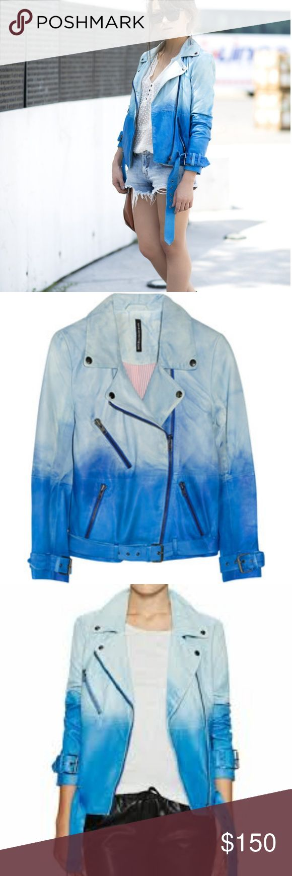W118 walter baker blue ombre leather moto jacket m W118 Walter baker Blue ombre leather Moto jacket Size medium Worn 4 times excellent used condition Like muubaa Vince and veda $135 via Paipal W118 by Walter Baker Jackets & Coats