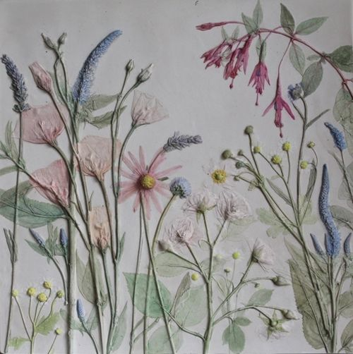 Plaster cast of wild flowers by the artist Rachel Dein - water colours added afterwards