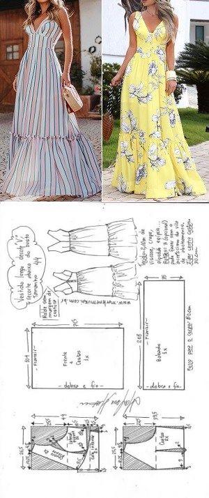 "Vestido longo decote ""V"", recorte e babado | DIY – molde, corte e costura – …"