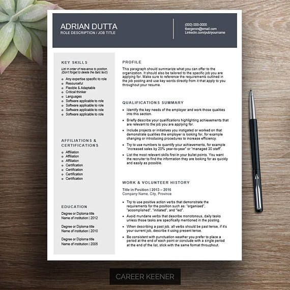 Stand out with this professional combination resume template for word. It includes a two page resume, cover letter, and reference page. This modern resume design is simple to use to create an easy-to-read resume that makes a strong first impression on hiring managers. Career Keener
