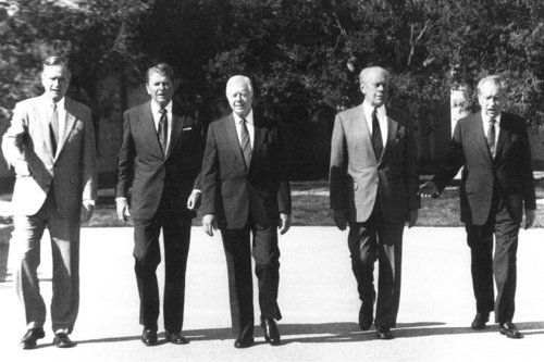 George H.W. Bush, Ronald Reagan, Jimmy Carter, Gerald Ford & Richard Nixon.  Most living presidents at a time were five, which happened two other times in history; Lincoln, Van Buren, Tyler, Filmore, Pierce, Buchanan 1861 & George W. Bush, George H.W. Bush, Reagan, Carter, Reagan, Clinton 2001.