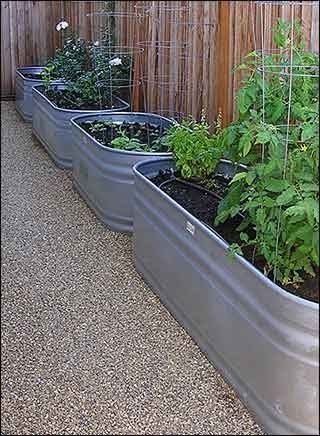 Galvanized water trough vegetable garden, so neat and organized... & side approach accessible. Readily available at farm stores. We used 3 old tanks with rusted bottoms, didn't hold water anymore, but work great for beds.
