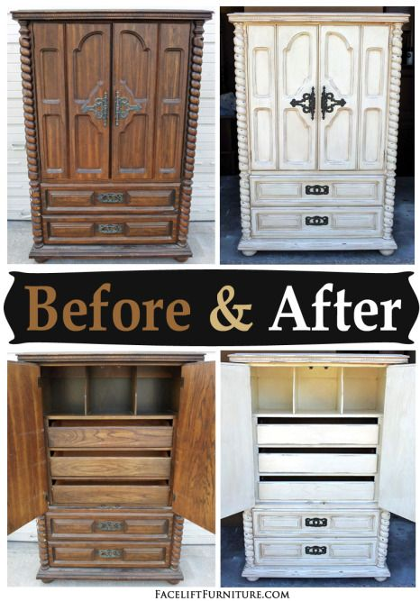 Chunky Clothing Armoire in Distressed Off White - Before & After - Facelift Furniture