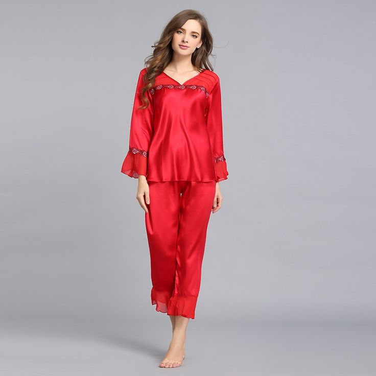 Women's Silk Pajama Set Silk Loungewear Embroidery Lace T77113