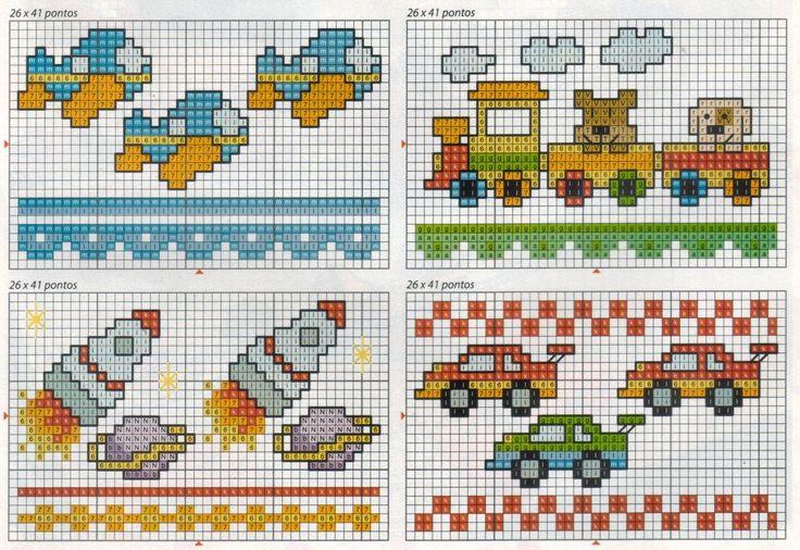 Artesanatos e bordados: Ponto Cruz para meninos