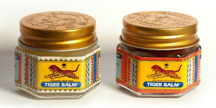Mange kender den stærke duftaf Tiger Balsam, og salven har været populær, lige siden den blev udviklet i 1870'erne.Salven blev kaldt Tiger Balsam, eftersom den netop på det tidspunkt indeholdt tigerknogler, en ingrediens som ,ifølgeTigerbalsam.com, blev brugt i traditionel kinesisk medicin i 1500 år til at behandle smerte, inflammation og for at lindre muskelsmerter, men i dag består den af andre aktive ingredienser.