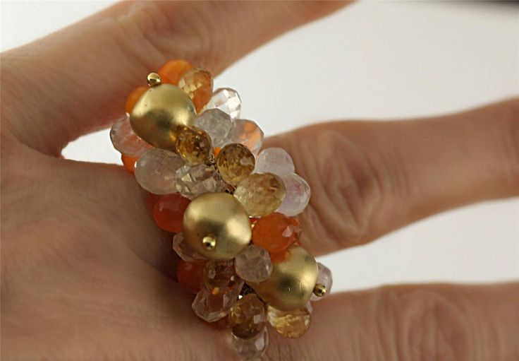 Cocktail Ring 14k Gold Natural Citrine Moonstone Carnelian Quatz 26.35 carat tw