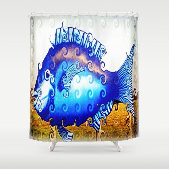 Fish, Blue, Digitally manipulated, Design, Décor.