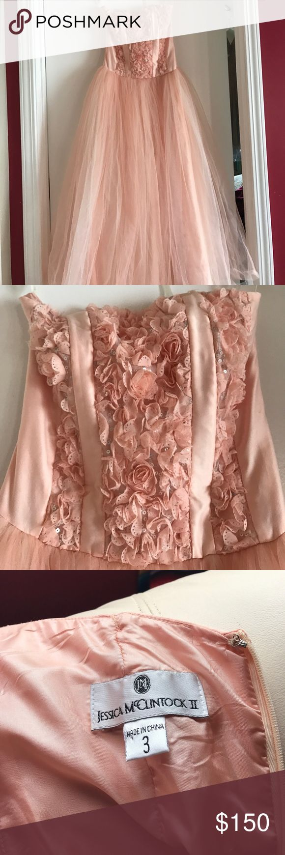 PROM DRESS BALL DRESS BLUSH PINK SIZE 3 Beautiful blush pink ball gown. Only worn once. Are you petite or at least just a little bit short? This dress is perfect for those 5'4 and under! There's no need to get it hemmed. Flawless condition. Jessica McClintock Dresses Prom