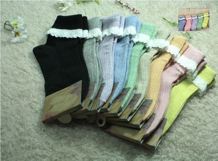 New unisex men women Cotton-Knit Lace socks_Pastel colors