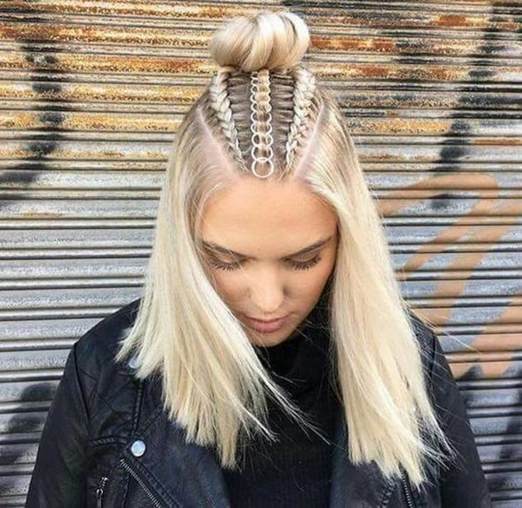 ❤️ See all 27 variations ❤️ Tripple Mohawk cornrow braids into a top knot / high bun half updos