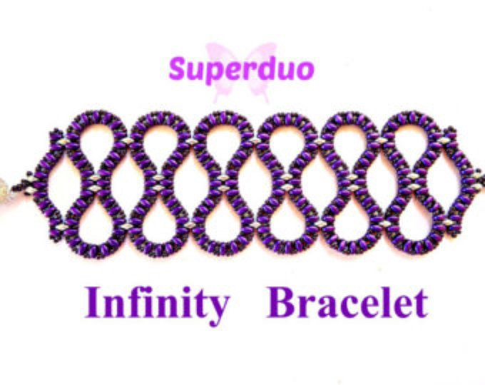 Tutorial Superduo Infinity Bracelet Pattern in 2 hole Super Duo Twin beads and Seed Beads.  Original Design by Butterfly Bead Kits