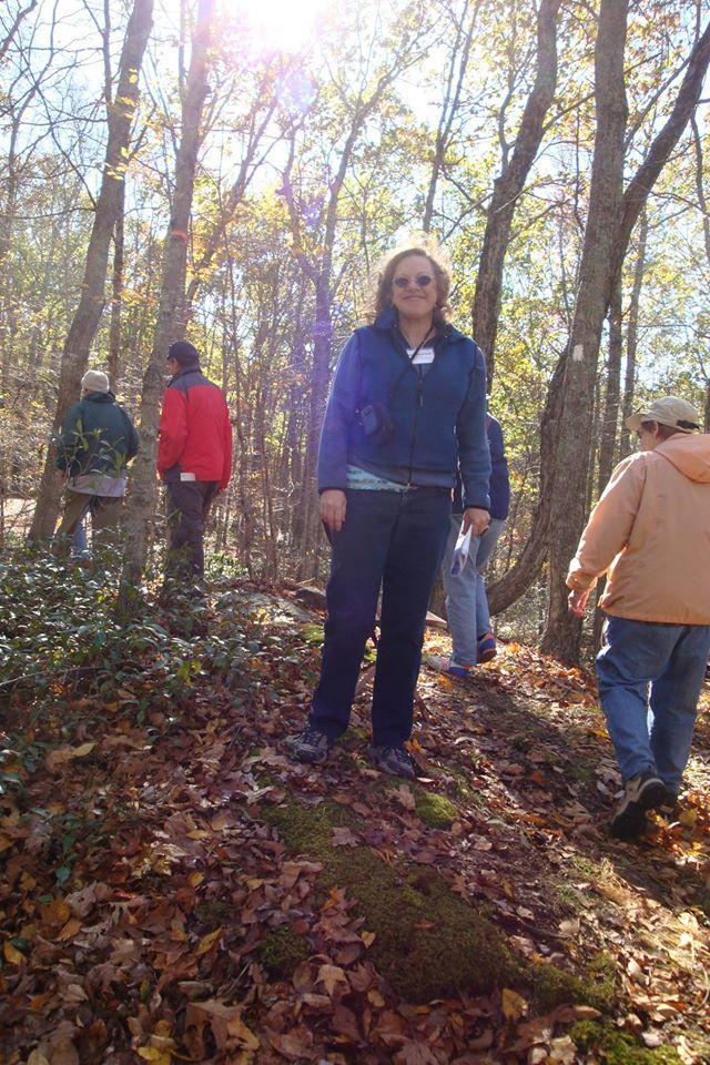 Gwen, on behalf of Ashford Conservation Commission, leading the guided Walk on the newly white blazed Langhammer trail on Ashford town land.