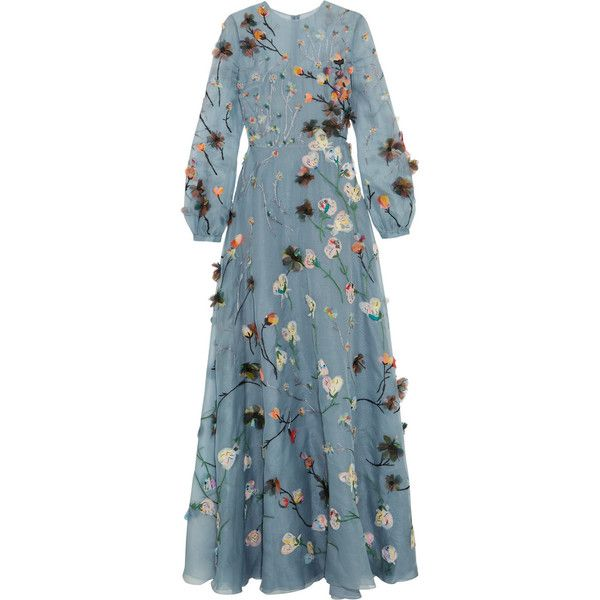 Valentino Appliquéd silk-organza gown ($21,370) ❤ liked on Polyvore featuring dresses, gowns, valentino, blue, long sleeve blue gown, blue evening gown, valentino gown, long sleeve gown e bohemian dress
