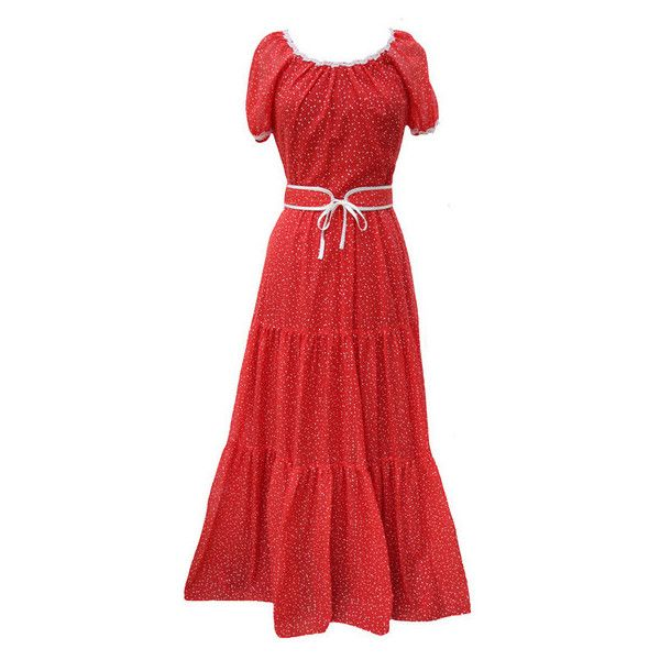 SOLD 1970s gypsy style maxi dress by Vera Mont (155 BRL) ❤ liked on Polyvore featuring dresses, semi sheer maxi dress, cotton dresses, maxi length dresses, semi sheer dress and cotton maxi dress