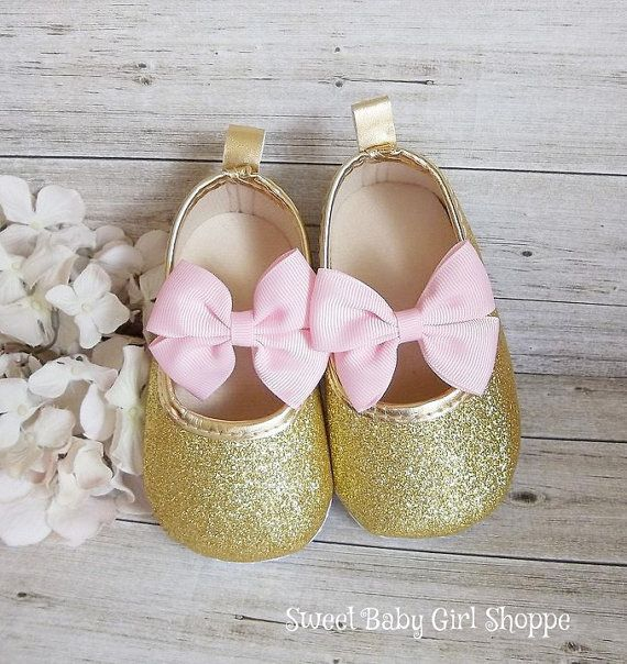 Pink and Gold First Birthday Outfit  Gold Baby Shoes  Pink