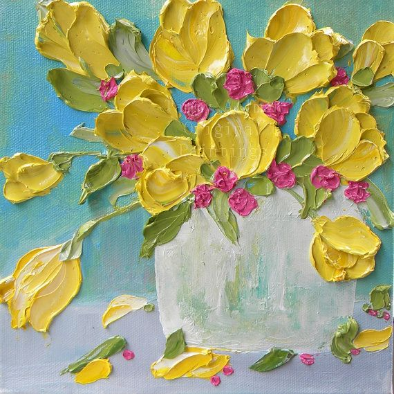 Spring Yellow Tulips sculpted in impasto oil paint