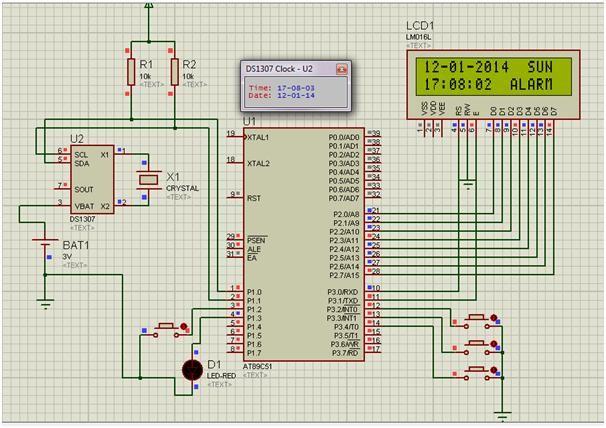 Proteus Circuit Of Real Time Digital Clock
