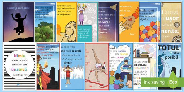 Planșe motivaționale - motivație, dezvoltare personală, română, pozitiv, gândire pozitivă, motivația învățării,