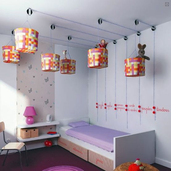 Cool Pulley System Ceiling Storage Kids Bedroom