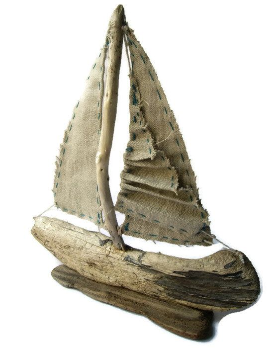 ⚓♡salt air⊰⛵  .Driftwood Sailboat with Folded Sail by purestylecrafts on Etsy