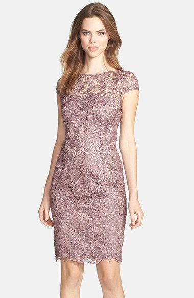 Free shipping and returns on Adrianna Papell Lace Sheath Dress (Regular & Petite) at Nordstrom.com. Lustrous lace swirls over a beautiful sheath accented by tonal satin trim at the illusion neckline and cap sleeves.
