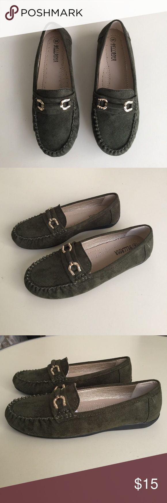Army Green Faux Suede Loafers Cute and casual army green faux suede loafers with gold tone detail. Size 6. NWOT, never worn. Shoes Flats & Loafers