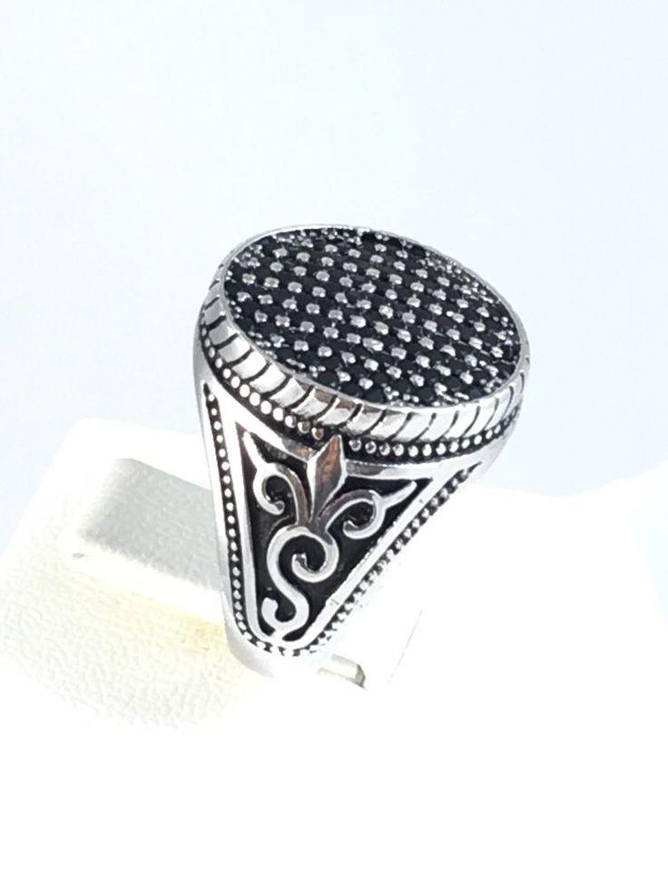 New Turkish Handmade 925K Sterling Silver Black Onyx Men's Ring Size 9 5 | eBay