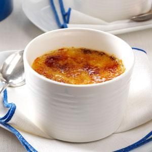 Lemon Creme Brulee Recipe -Here's a refreshing, tangy twist on a classic. Don't have the kitchen torch traditionally used for creme brulee? Simply pop the ramekins under the broiler.—Sara Scheler, Helenville, Wisconsin