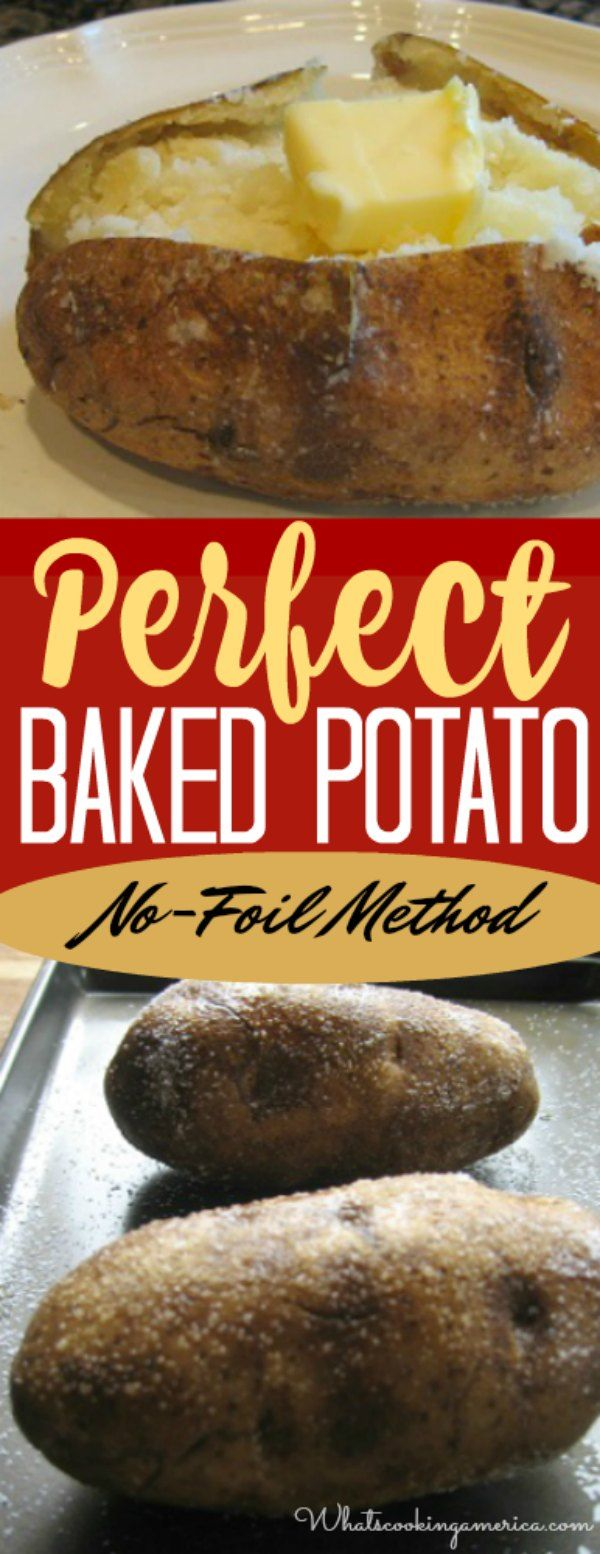No foil necessary to achieve baked potato perfection in the oven. #baked #potato