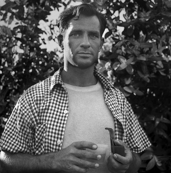 "Kerouac with pipe. From the age of 18 my son read ""On The Road"" at least once a year. He loved this book."