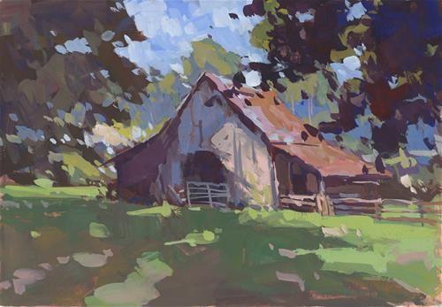 "Daily Paintworks - ""Bark at Oak Grove"" - Original Fine Art for Sale - © David Boyd Jr"