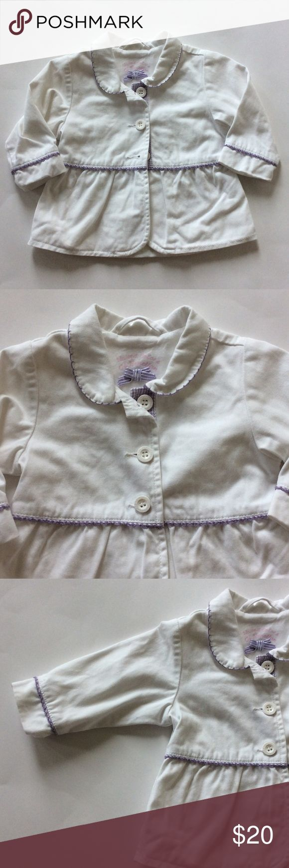 Benetton Baby jacket Super cute Benetton Baby jacket. Soft and sweet, white with lavender detailing. Lined. Long sleeves. 100% cotton. Size 3-6 mths. Excellent condition. Benetton Jackets & Coats