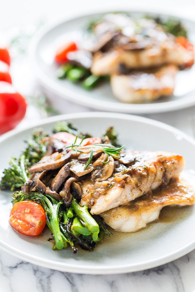 Pan Fried Rockfish with Quick Rosemary Mushroom Sauce and Broccolini | Get Inspired Everyday!