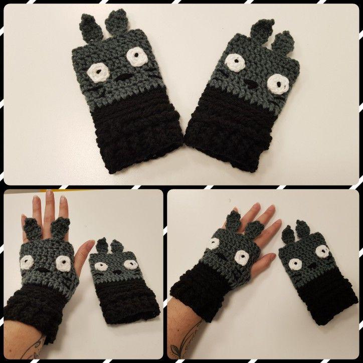Mitones /Guantes sin dedos a crochet Totoro - T: Adulto