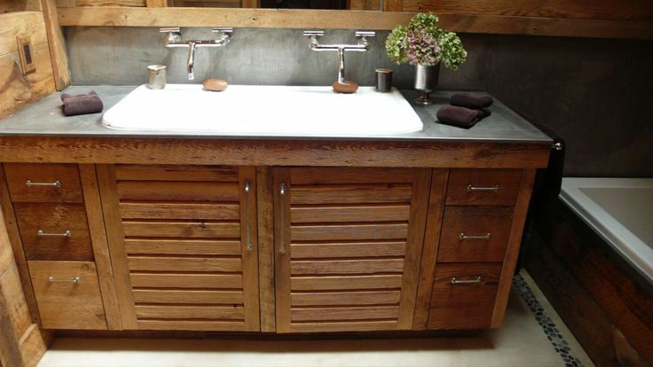 Double faucet trough sink custom built reclaimed wood vanity love the louvered doors w side for Custom double sink bathroom vanity