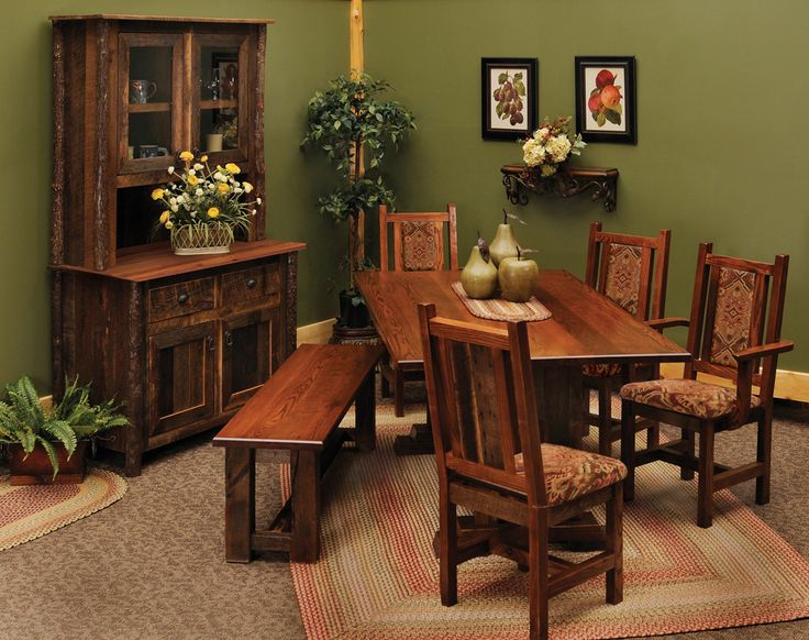 Dining Room: Pretty And Stunning Rustic Dining Room Furniture Sets Have  Varnished Rustic Table Plus