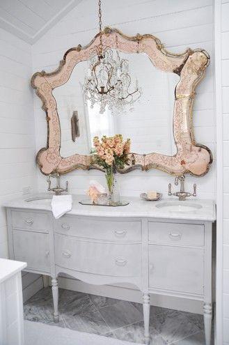Love the mirror #vanity #interiors #decor #bathroom #mirror #chandelier