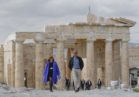 President Obama tours the Acropolis with Eleni Banou, of Greece's Ministry of Culture, on Nov. 16 in Athens. (Pablo Martinez Monsivais/AP)