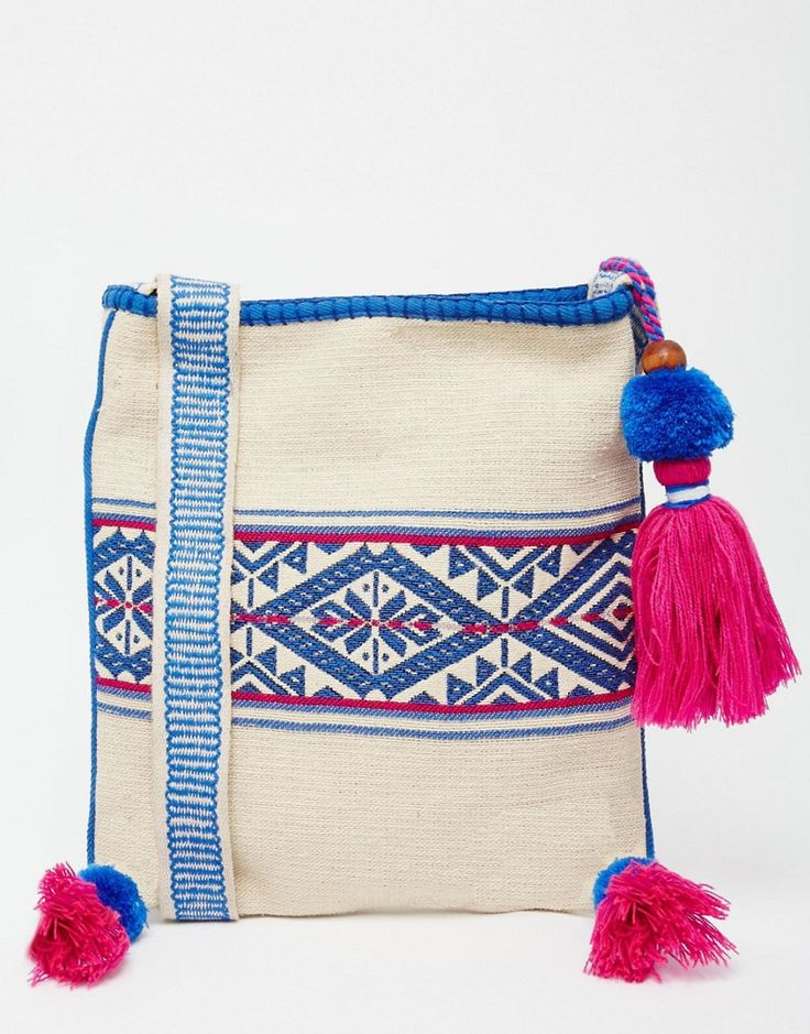 Star+Mela+Across+Body+Bag+with+Blue+Embroidey+and+Pink+Tassels