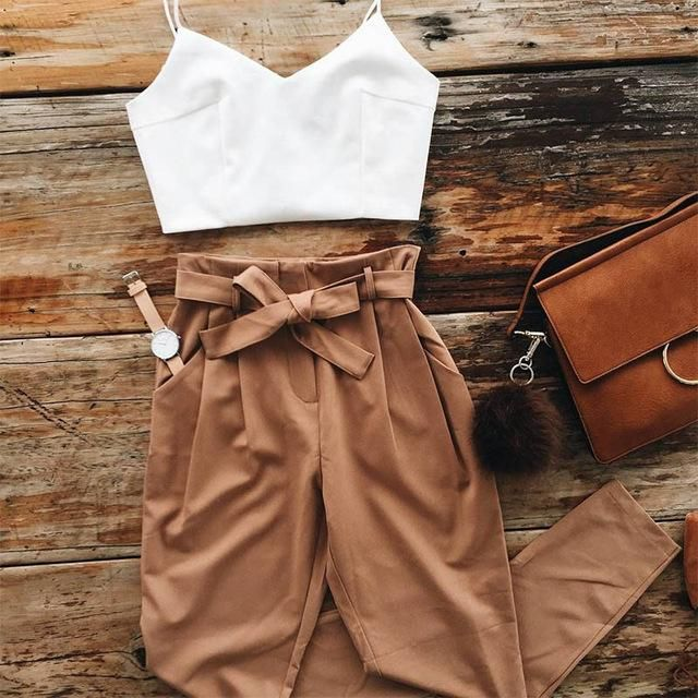 Women Chiffon Crop Top and Pants Set Two Piece Outfit 2