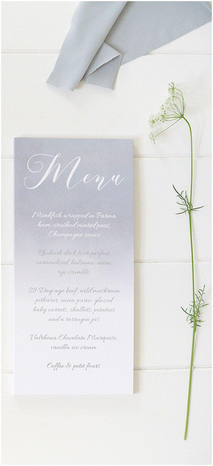 Blue-grey watercolour wedding breakfast menu by peonyandrose.co.uk