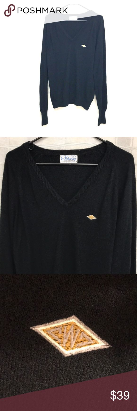 """Vintage Pickering V Neck Longsleeve Size Large. 100% Acrylic but is as soft as cashmere. Sweater has a W monogrammed inside of yellow diamond. Black. Armpit to armpit 23"""" Length 28"""" Pickering Sweaters V-Neck"""