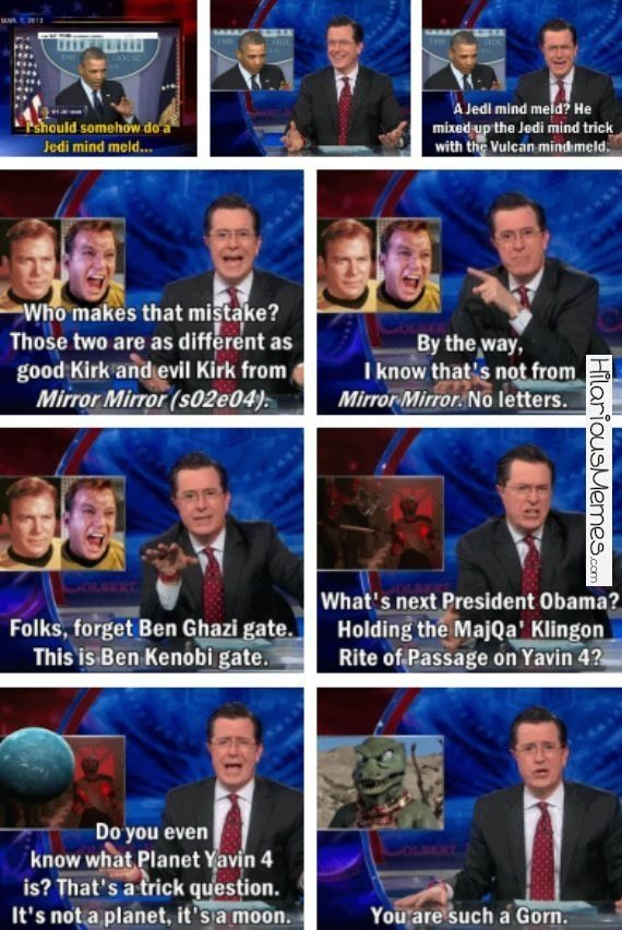 Funny Memes Stephen Colbert on Ben Kenobigate