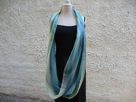RESERVED,Silk Infinity Scarf, Blue Infinity Scarf, Lightweight Scarf, Ladies Scarf, Pastel, Gift For Wife