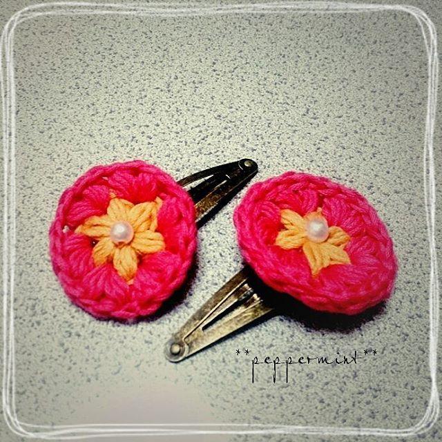オーダー品  パッチンピン完成(^^) #crochet #hairaccessory