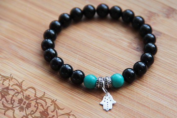 Onyx and turquoise bracelet with silver hamsa charm